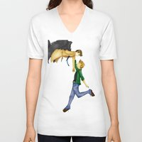 destiel V-neck T-shirts featuring Destiel by doodle bags