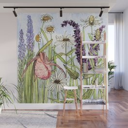 Lady Slipper Orchid Woodland Wildflower Watercolor Wall Mural