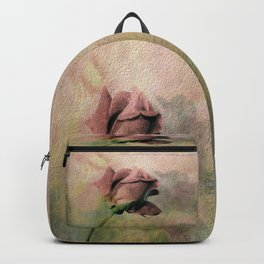 Painterly Pink Rose Bud Backpack