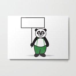 Panda Sign Metal Print