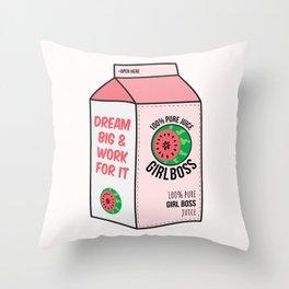 #girlboss juice Throw Pillow