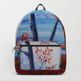 Autumn forest blue orange painting by Ksavera Backpack