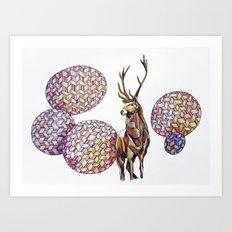 Deer in the highland Art Print