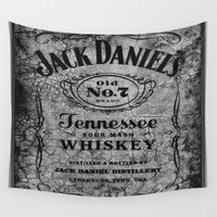 whiskey Wall Tapestries featuring Whiskey On Wood BW by gypsykissphotography