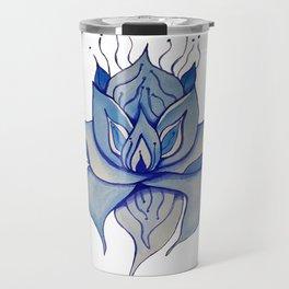 Watercolor Blue Lotus Travel Mug