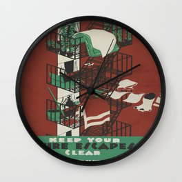 Vintage poster - Keep Your Fire Escapes Clear Wall Clock