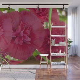 Hollyhock all in a row Wall Mural