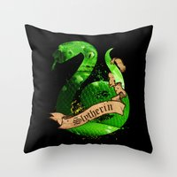 slytherin Throw Pillows featuring Slytherin by Markusian