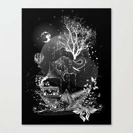 Surrealistic dream, paper boat, elephant, tree and gramophone Canvas Print