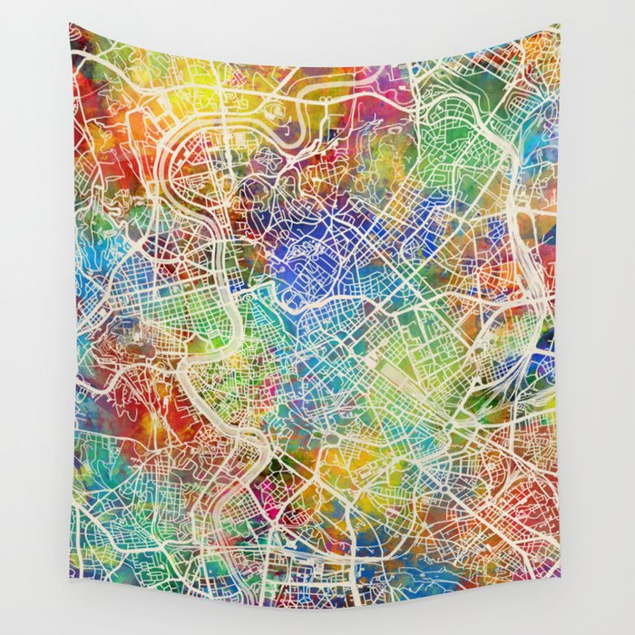 Rome Italy City Map Wall Tapestry by artpause | Society6