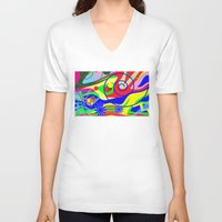 graffiti V-neck T-shirts featuring Graffiti by DesignsByMarly