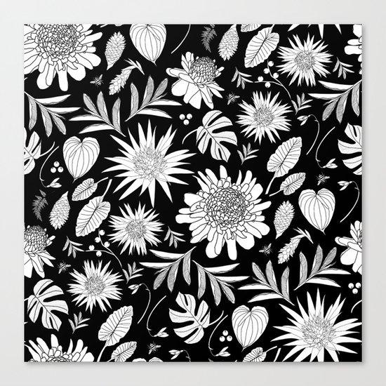 TROPICAL FLORAL BLACK & WHITE Canvas Print
