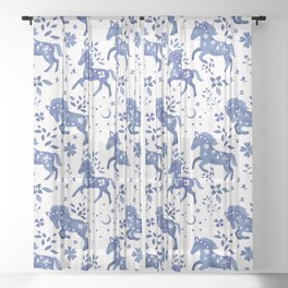 Delft Blue Horses Sheer Curtain