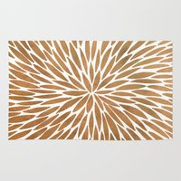 rose gold Area & Throw Rugs featuring Rose Gold Burst by Cat Coquillette