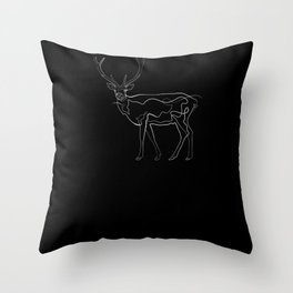 Hirsch - One Line Drawing Throw Pillow