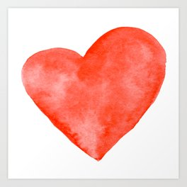 Red Watercolor Heart Art Print