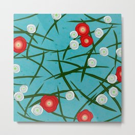 Japenese Water Flowers Pattern Metal Print