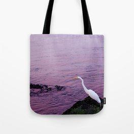 White Egret at Sunset Tote Bag