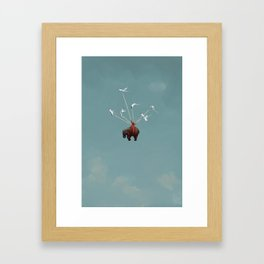 Baby Elephant Flies Framed Art Print