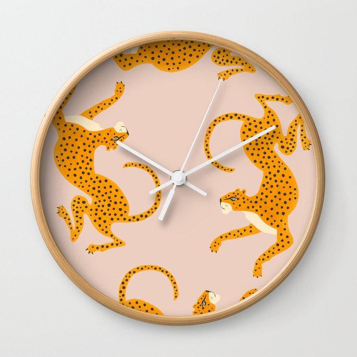 Leopard Race - pink Wall Clock