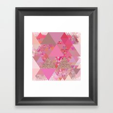 Triangles in glittering pink- glitter triangle pattern Framed Art Print