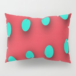 Teal Poka Dots on Strawberry Red Pillow Sham