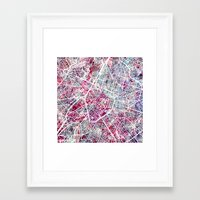 brussels Framed Art Prints featuring Brussels Map by MapMapMaps.Watercolors