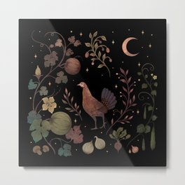 Wild Chicken with Vegetable Vines Metal Print
