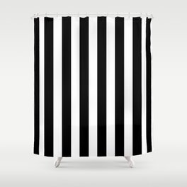 Classic Black and White Football / Soccer Referee Stripes Shower Curtain
