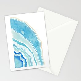 Blue Agate Abstract Illustration Stationery Cards