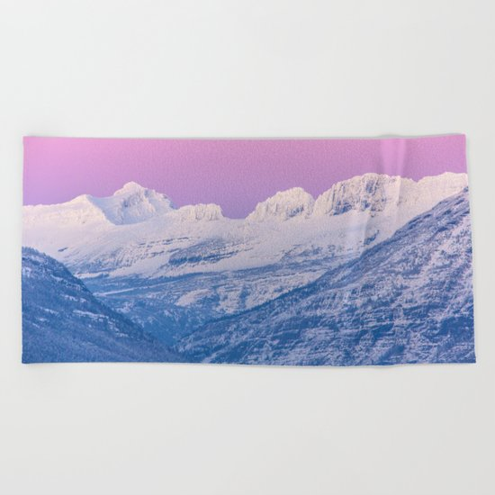 Pink Sunset Mountains Beach Towel