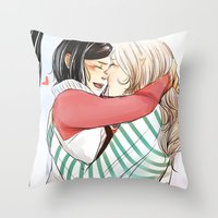 helen Throw Pillows featuring Aline and Helen by The Radioactive Peach