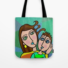 Mother and Son Cubism Art Tote Bag
