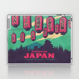 Japan Travel Tourism with Japanese Castle, Mt Fuji, Lanterns Retro Vintage - Green Laptop & iPad Skin