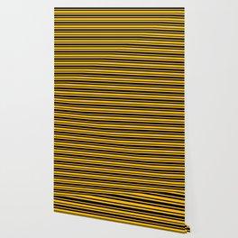 Amber Orange and Black Horizontal Var Size Stripes Wallpaper