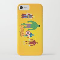 super heroes iPhone & iPod Cases featuring Super Heroes - Pixel Nostalgia by Boo! Studio