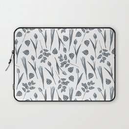 Modern botanical gray mauve teal floral pattern Laptop Sleeve