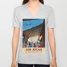 Air Atlas Casablanca Vintage Travel Poster Unisex V-Neck