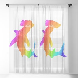 Rainbow hammerhead Sheer Curtain