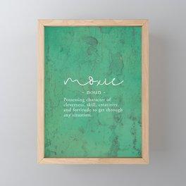 Moxie Definition - White on Green Texture Framed Mini Art Print