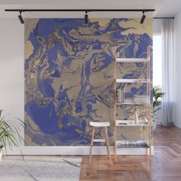 brown and blue Marble aqrylic Liquid paint art Wall Mural