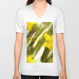 Spring atmosphere with yellow narcissus Unisex V-Neck