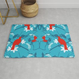 NZ Native Red Kereru (Wood Pigeon) and Fantail on Blue Rug