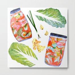 Kimchi Ingredients Spicy Fun Watercolor  Metal Print