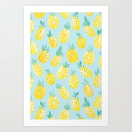Watercolour Pineapples on Blue Art Print