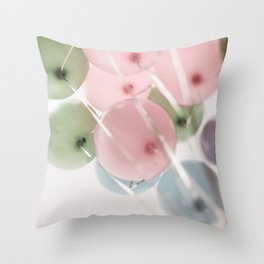 colored pastel balloons Throw Pillow