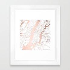 New York City White on Rosegold Street Map Framed Art Print