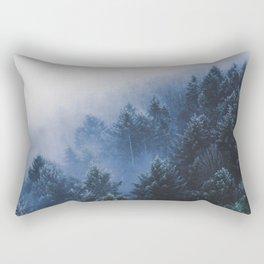 Foggy Blue Purple Mountain hill Pine Trees Landscape Nature Photography Minimalist Modern Art Rectangular Pillow