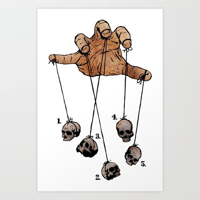 The Five Dancing Skulls Of Doom Art Print