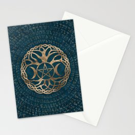 Triple Moon Goddess with pentagram and tree of life Stationery Cards